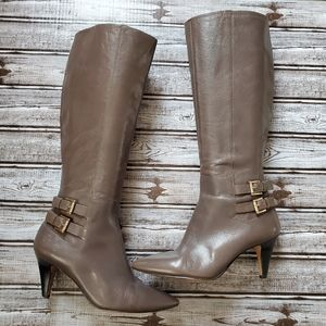 NINE WEST Gray Leather Knee High Boots 6.5